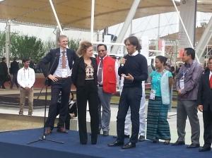 Valentina Scotti e Davide Oldani all'inaugurazione del Cluster del riso